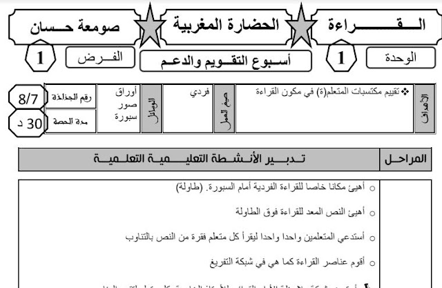 الفرض الأول اللغة العربية المستوى الرابع المنهاج الجديد 2020-2019