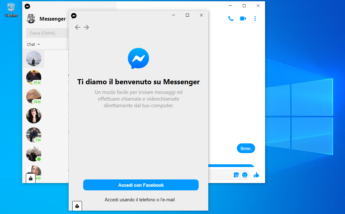 Supporto multiutente in Messenger (Beta) per Windows 10
