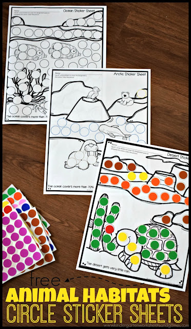 FREE Animal Habitat Sticker Worksheets - these free printable worksheets are so much fun! Kids will use circle stickers to complete the pages to show many different animal habitats. Great for fine motor skills, learning about where animals live, and more! Perfect for toddler, preschool, kindergarten, first grade, and 2nd grade kids. #animalahabitats #scienceforkids #homeschool #preschool #kindergarten #freeworksheets #habitats