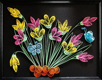 Flower quilling wall art frames designs - quillingpaperdesigns