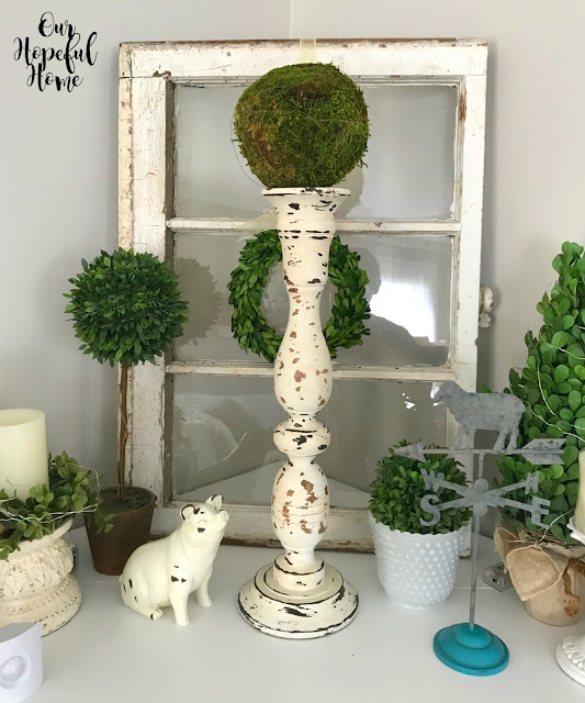 chippy shabby farmhouse candlestick boxwood wreath topiary vintage window sheep weather vane