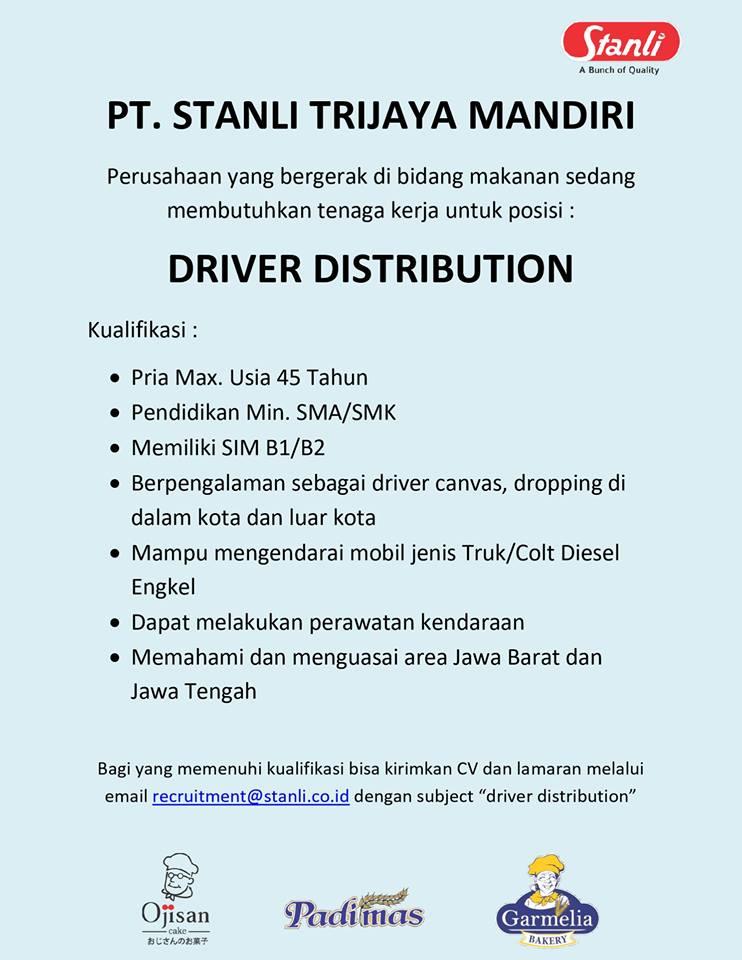 lowongan kerja Driver Distributor Bandung - pencari kerja