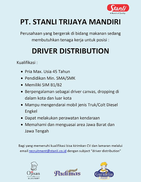 lowongan kerja Driver Distributor Bandung