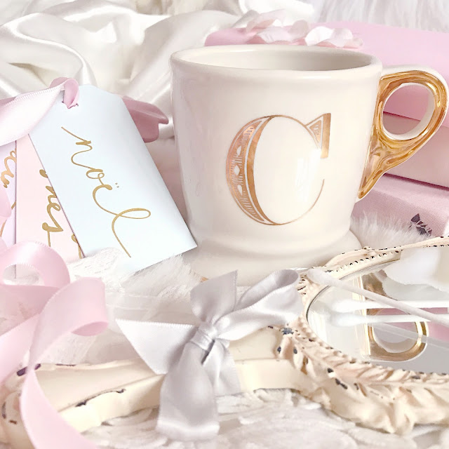 Anthropologie | Gold Monogram Mug