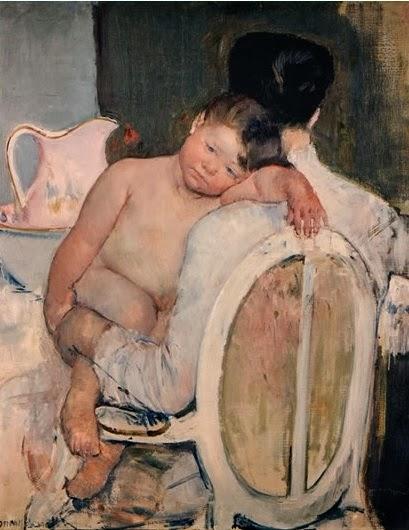 Mujer sentada con un niño en brazos de Mary Cassatt
