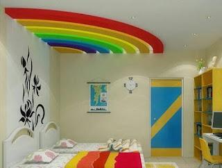 ديكورات غرف نوم اطفال على شكل قوس قزح بالوان جميلة جدا