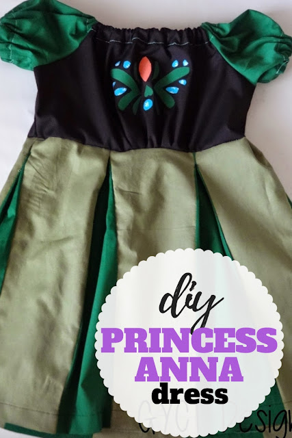 DIY Princess Anna Coronation Dress tutorial using a peasant dress and free applique pattern.