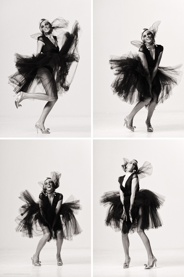 Black tulle dress on white background with, Marilyn Monroe inspired poses. Studio fashion photography by Kent Johnson