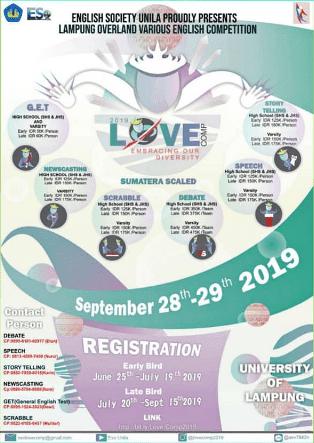 Lomba Bahasa Inggris LOVEComp Unila 2019 Untuk Pelajar & Mahasiswa