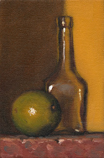 Still life oil painting of a lime beside a small glass bottle.