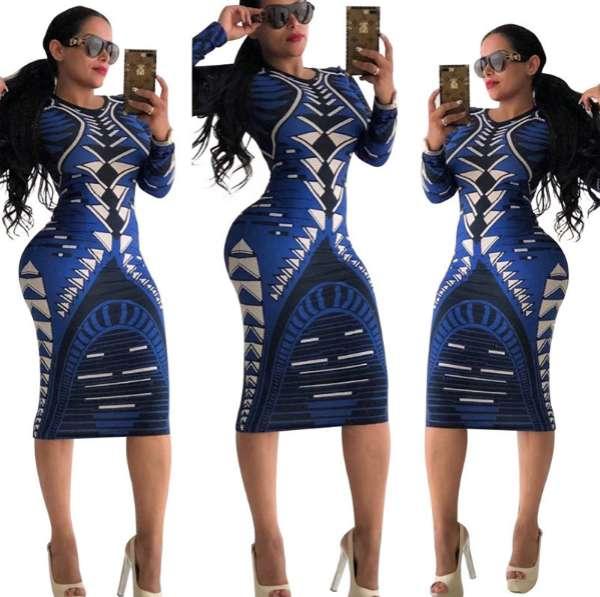 Women Dress Multicolor Print Novelty Women Clothes Long Sleeve