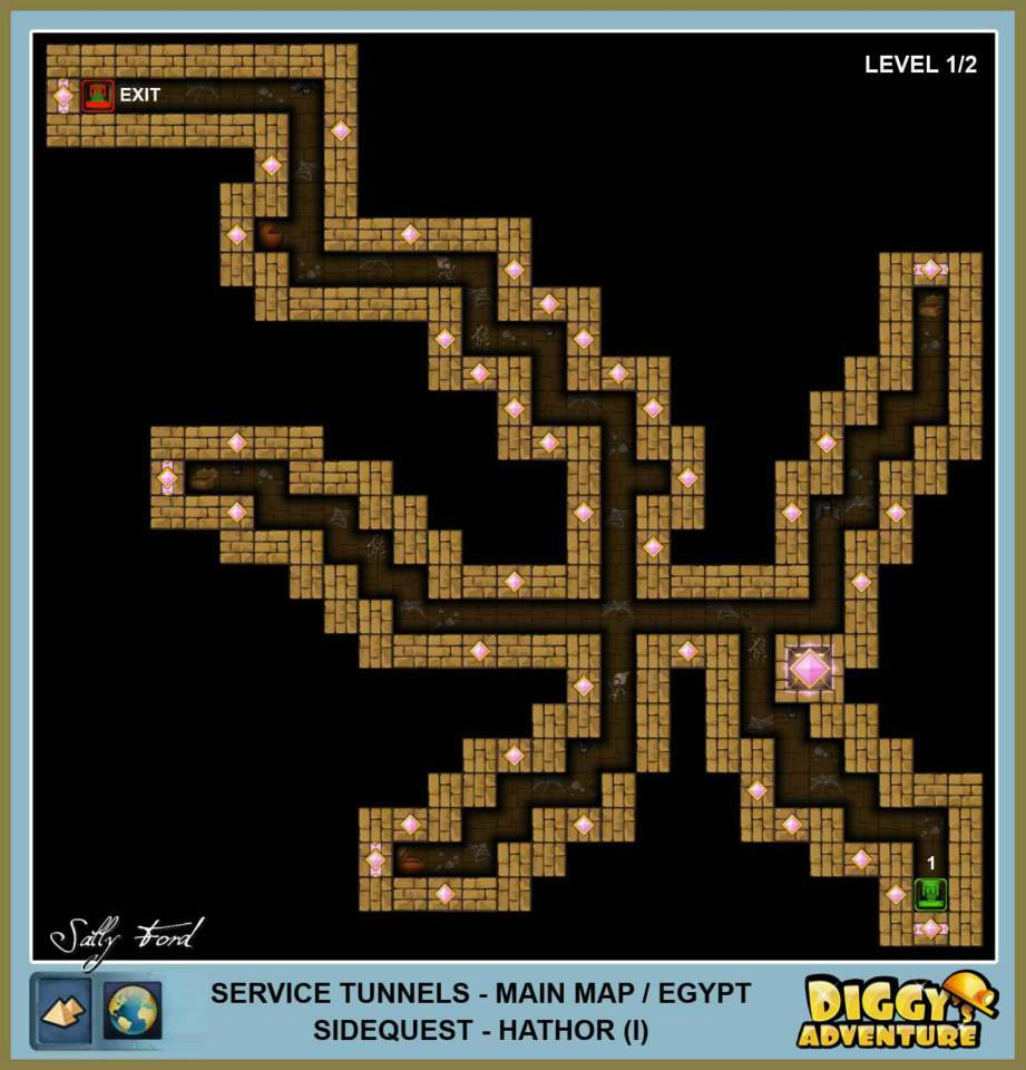 Diggy's Adventure Walkthrough: Egypt Main / Service Tunnels