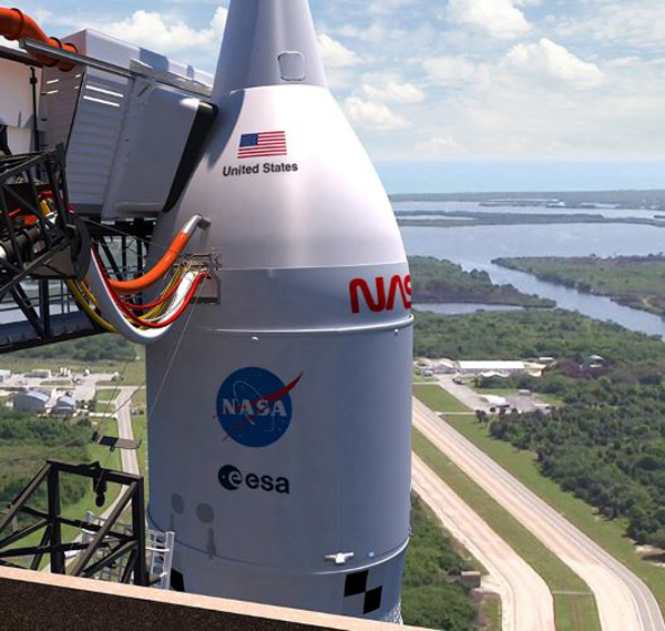 An artist's concept of the SLS on the pad at Kennedy Space Center's Launch Complex 39B in Florida.