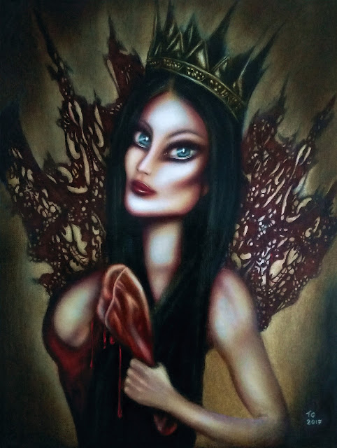 painting biblical esther with a sensual gaze at a jewish banquet by tiago azevedo a lowbrow pop surrealism artist