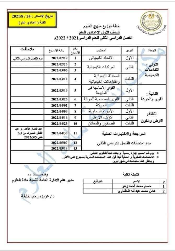 توزيع منهج العلوم للصف الأول الاعدادي العام الدراسي 2021 / 2022 6