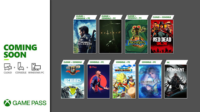 xbox game pass 2021 dragon quest builders 2 fifa 21 final fantasy x x-2 hd remaster just cause 4 reloaded outlast 2 psychonauts red dead online remnant from the ashes steep xb1 xsx