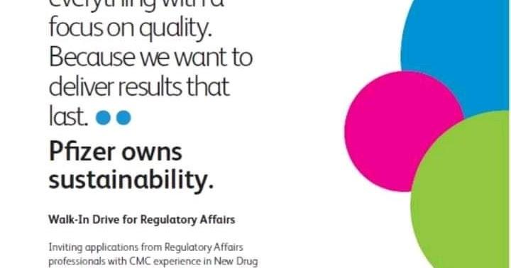 Pfizer | Walk-in interview for Regulatory Affairs | 10-11