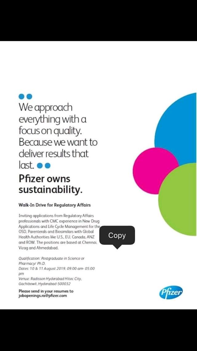 Pfizer | Walk-in interview for Regulatory Affairs | 10-11 August 2019 | Hyderabad