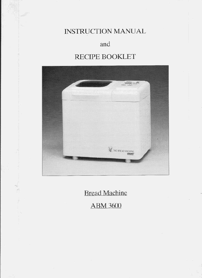 welbit model abm6000 bread machine manual