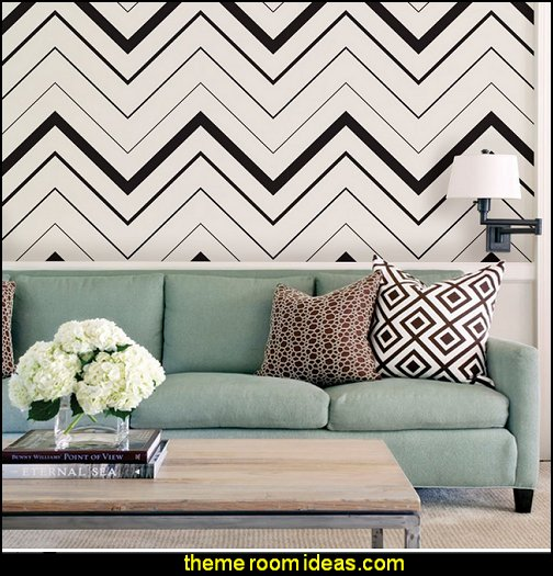 Chevron Bold Wallpaper - Black  zig zag bedroom decorating ideas - Zig Zag wall decals - Chevron bedroom decorating ideas - zig zag wallpaper mural - zig zag decor - Chevron ZIG ZAG print - Herringbone Stencil - chevron bedding - zig zag rugs -