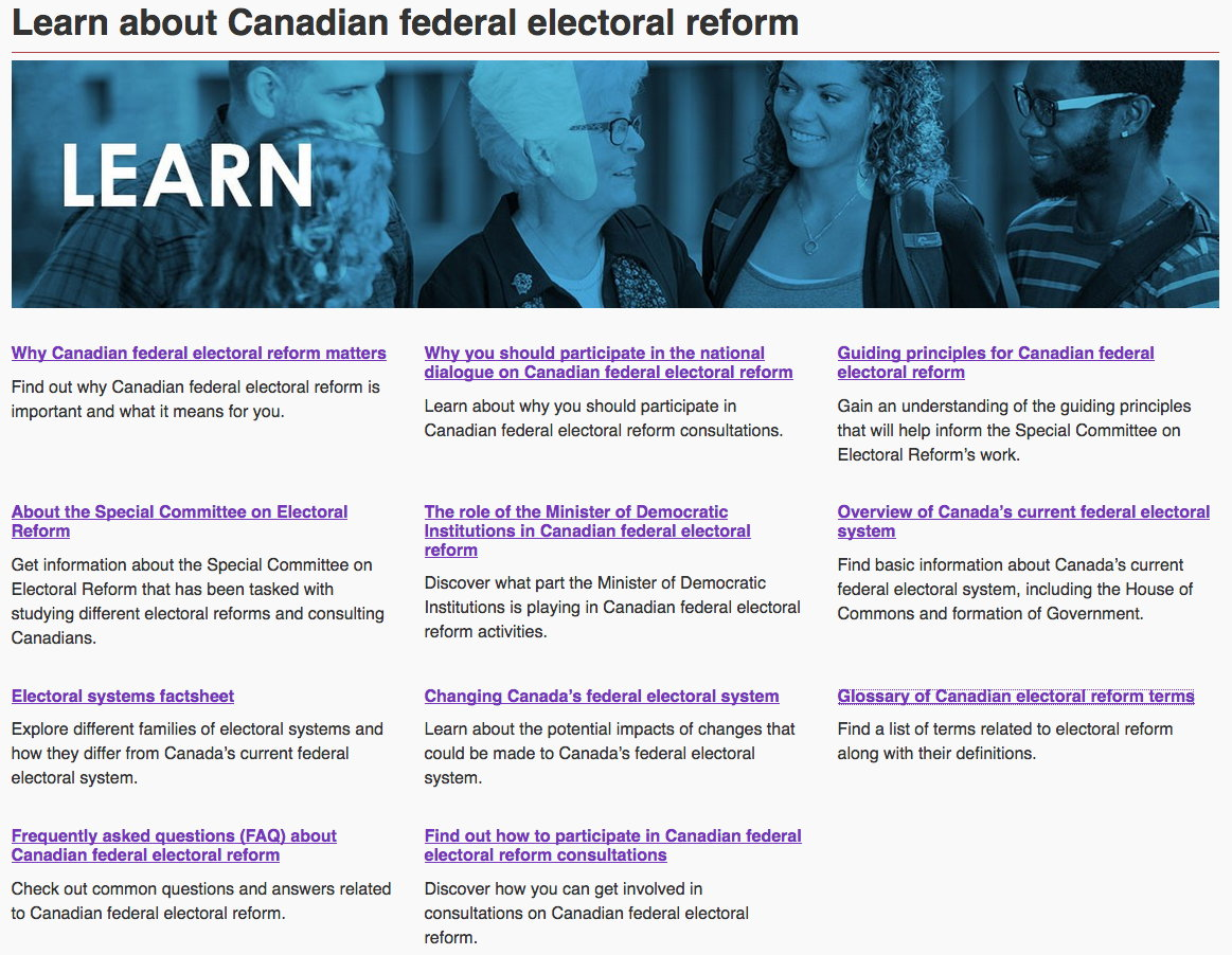 reforming the canadian electoral system essay First past the post or fptp, also known as simple majority voting, winner-takes-all voting or plurality voting is the most basic form of voting system.