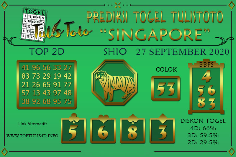 Prediksi Togel SINGAPORE TULISTOTO 27 SEPTEMBER 2020