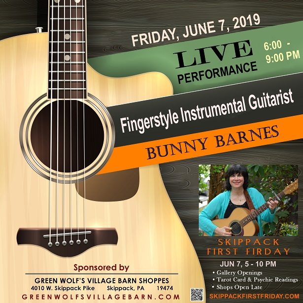 LIVE CONCERT feat. – Bunny Barnes, June 7, 6 - 9 PM (Skippack First Friday) at Green Wolfs Village Barn Shoppes in Skippack