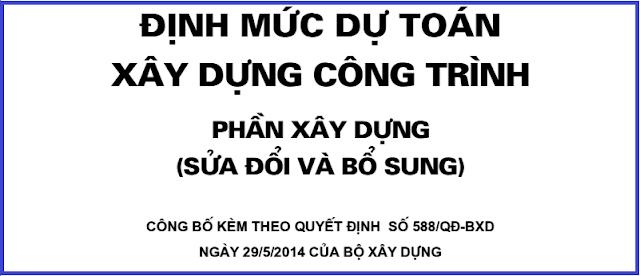 Quyết định số 588/QĐ-BXD năm 2014 về sửa đổi, bổ sung định mức 1776