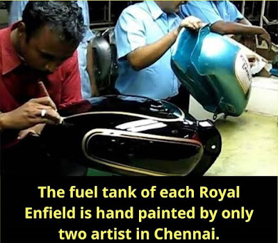 The fuel tank of each royal Enfield is hand-painted by the only two artists in Chennai.