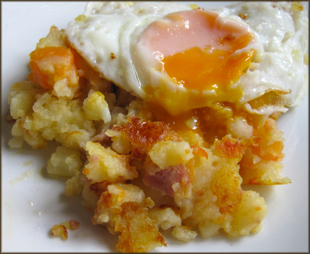 Potatoes Carrots and Gammon with Fried Egg