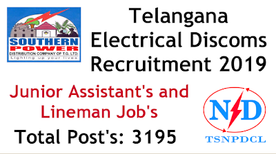 TSNPDCL TSSPDCL  Junior Assistant Lineman 3195 jobs notification 2019