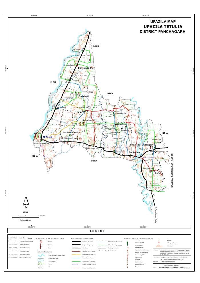 Tentulia Upazila Map Panchagarh  District Bangladesh