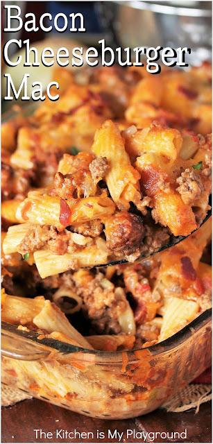 Bacon Cheeseburger Mac ~ Loaded with ground beef, bacon, cheese, & all the flavors of a classic cheeseburger, this is one amazingly hearty & delicious dinner dish! Bacon Cheeseburger Mac & Cheese is surely one dinner that's loved by all.  www.thekitchenismyplayground.com