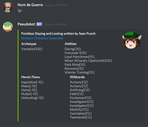 Let's GURPS: Pseudobot: Random Character Generator