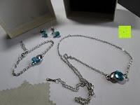 Lieferumfang: Fashmond Schmuckset Schmuck-Sets eine Ohrringe, ein Armband und eine Halskette Kette mit Anhänger für Frauen Mädchen Blau aus Kristall