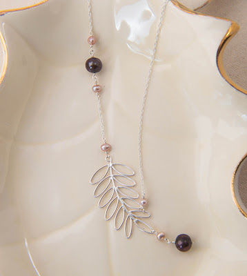 handmade fern leaf branch nature pearl brown chocolate mauve pink light purple earthy sterling silver soldered statement necklace pendant asymmetrical