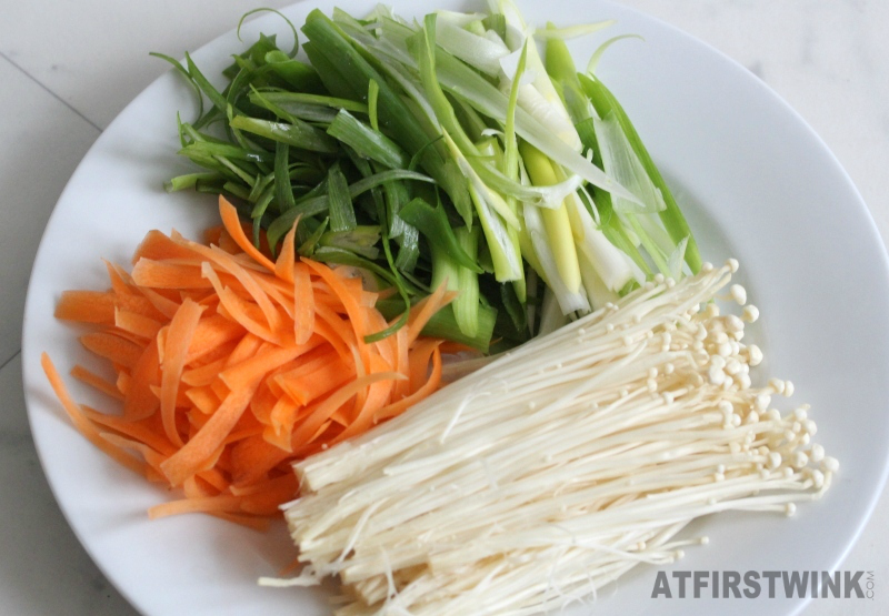 ingredients recipe Korean pancakes pa-jeon spring onions carrot enoki
