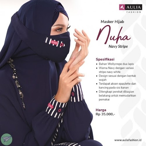 masker hijab aulia nuha navy stripe