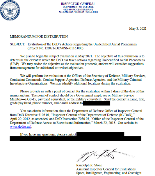 Evaluations of DoD's Actions Re UAP - Inspector General 5-3-2021