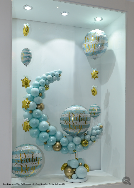 Baby Boy window display by Sue Bowler - Balloon Art by Sue Bowler
