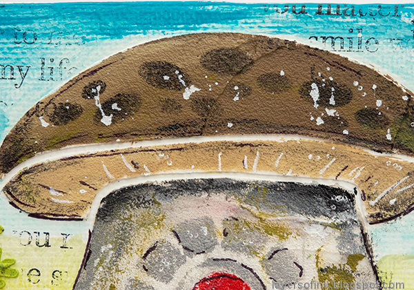 Layers of ink - Gnome Home Mixed Media Canvas Tutorial by Anna-Karin Evaldsson. Mushroom house roof.