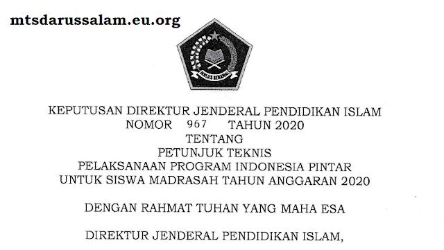 Juknis Pelaksanaan Bantuan Sosial PIP (Program Indonesia Pintar) Tahun 2020