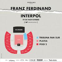 MAPA Concierto de INTERPOL y FRANZ FERDINAND