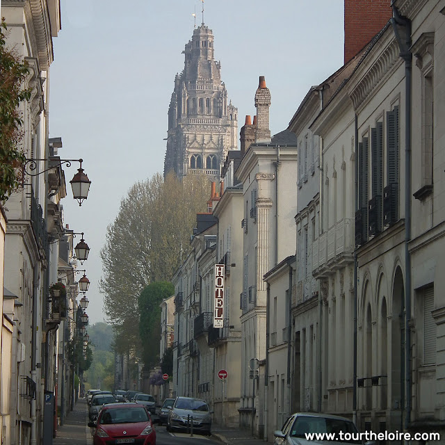 View of the Cathedral from rue Jules Simon, Tours.  Indre et Loire, France. Photographed by Susan Walter. Tour the Loire Valley with a classic car and a private guide.
