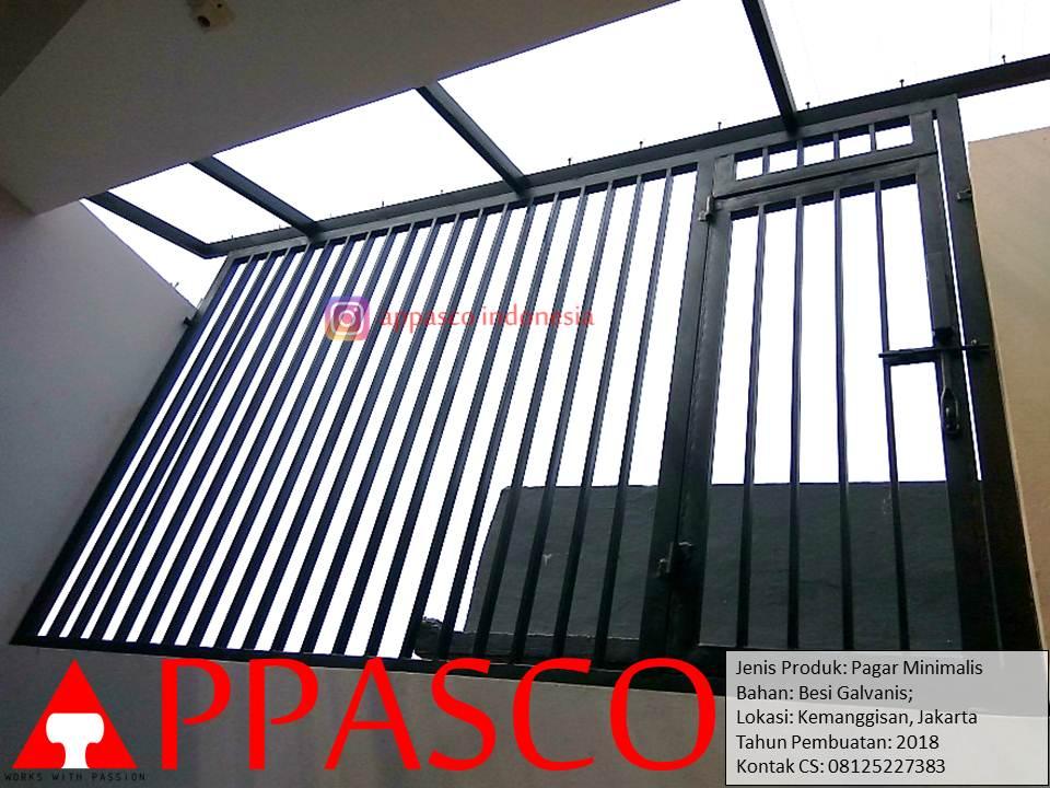 Pagar Minimalis Atap Loteng Di Kemanggisan Jakarta Pintu Teralis