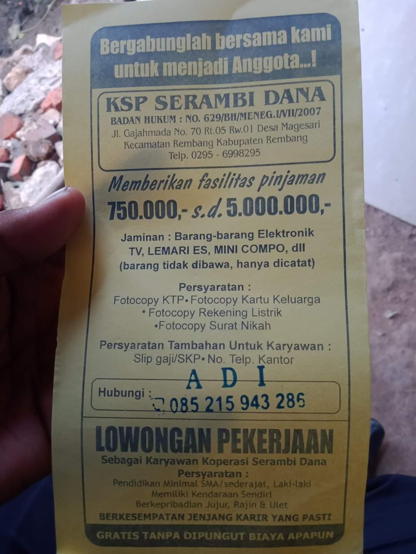 Lowongan Kerja Karyawan KSP Serambi Dana Rembang Tanpa Batas Umur
