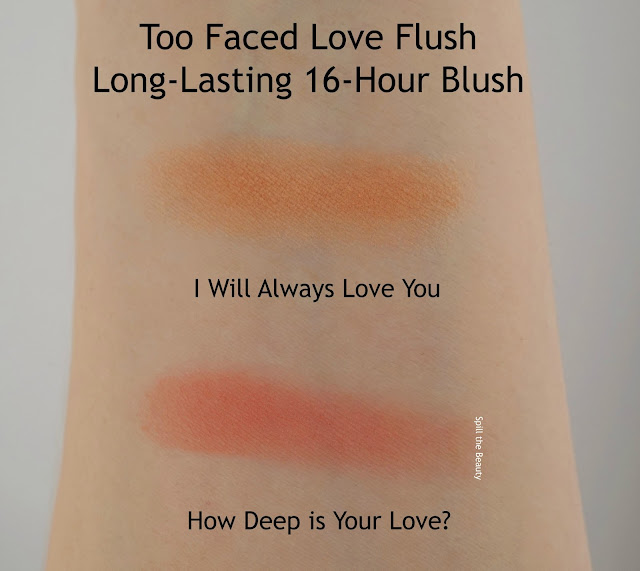 too faced love flush review swatches i will always love you arm swatches