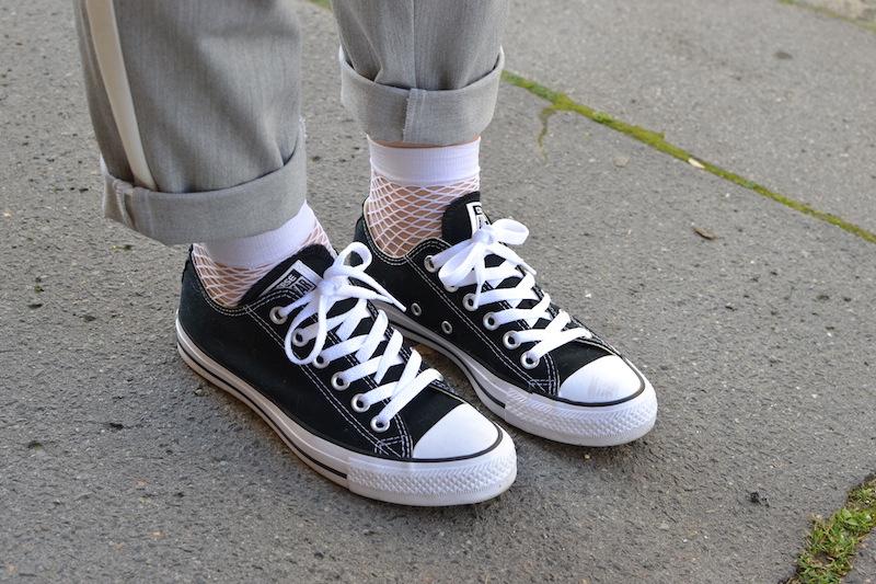 converse noir et chaussette résille blanche Asos