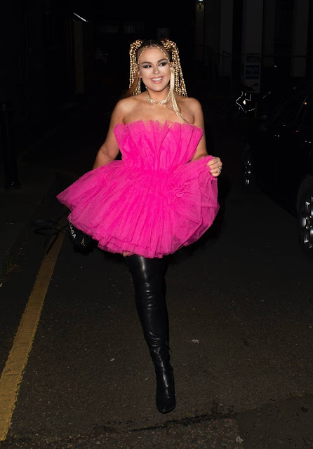 Tallia Storm – Night out in pink dress and thigh-high boots in London