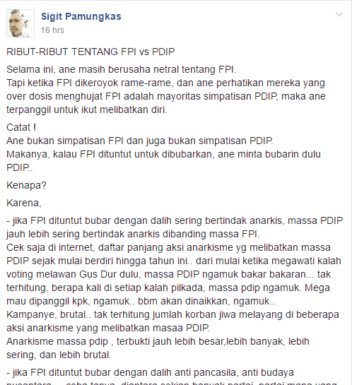 RIBUT-RIBUT TENTANG FPI vs PDIP, Netizen ini Geram: Catat!  Ane bukan simpatisan FPI dan juga bukan simpatisan PDIP